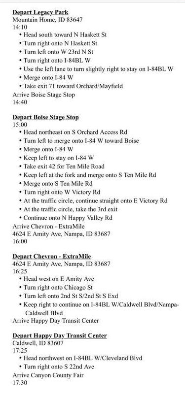 One More Day Ride Schedule